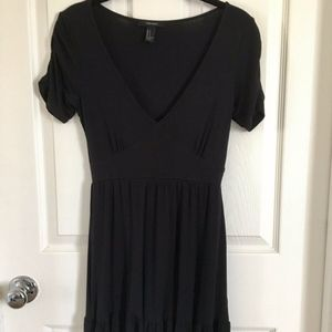 NWOT Forever 21 Navy V Neck Ruffle Dress Sz XS